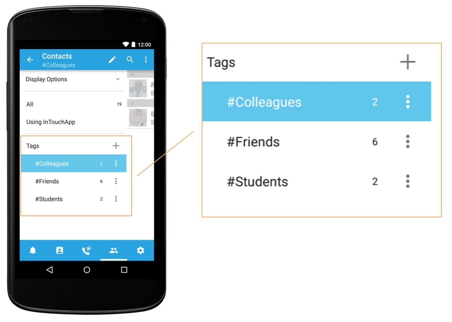 #Tags to organize contacts